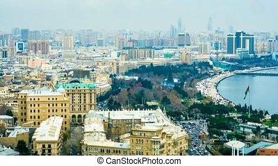 Timelapse of city traffic in Baku