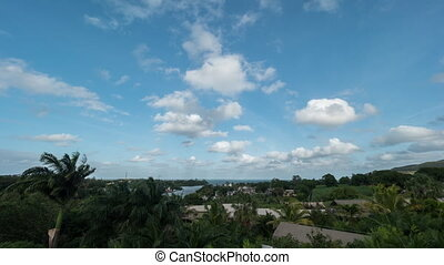 Timelapse shot of clouds sailing on blue sky over green Mauritius Island. Wind swinging palms and trees