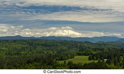 Timelapse of clouds over Mt. Hood and Sandy river valley in...