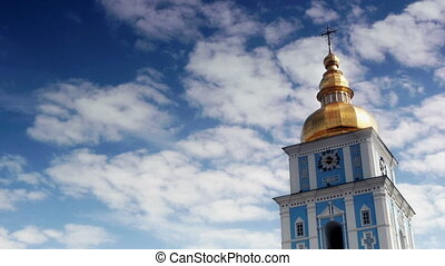 Timelapse of Clouds passing by St. Michael's Golden-Domed...
