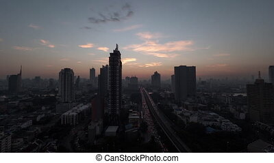 Timelapse of dawn over Bangkok, Thailand