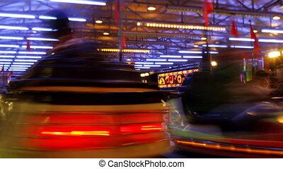 timelapse of dodgem car's at a carnival in barcelona spain