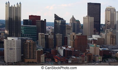 Timelapse of downtown Pittsburgh skyscrapers