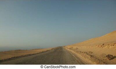 Timelapse of driving in desert