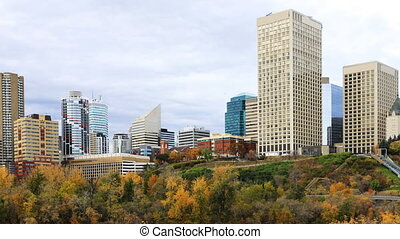 Timelapse of Edmonton Cityscape in fall - A Timelapse of...