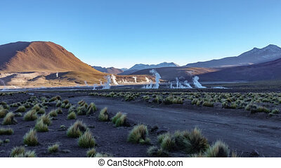 Timelapse of El Tatio Geysers Field, Atacama Desert, Chile....