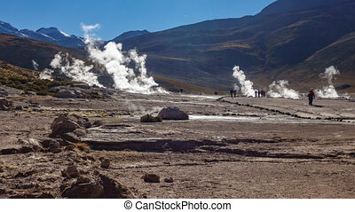 Timelapse of El Tatio Geysers Field with tourists in Chile -...