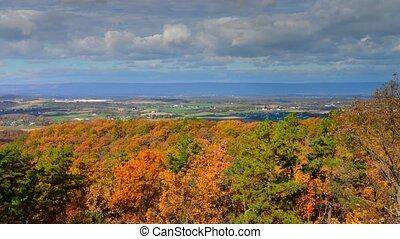Timelapse of fall Foliage landscap