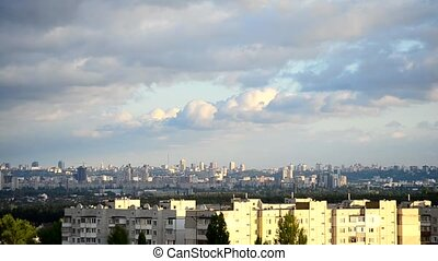Timelapse of gorgeous cumulus clouds moving over Kiev - Time...