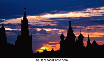 Timelapse of gorgeous sunset on Moscow historical center Red...