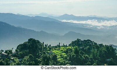 Timelapse of green forest in mountains. Nepal - Panoramic ...
