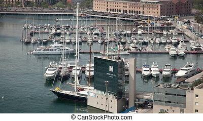 Timelapse of harbour in la Barceloneta, Barcelona, Spain - ...