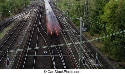 Timelapse Of High Speed Trains And Railroad Rails