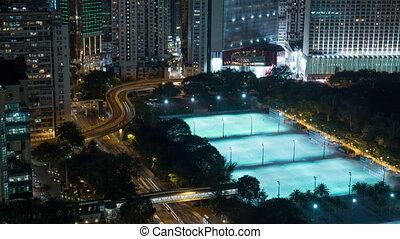 Timelapse of Hong Kong, night cityscape