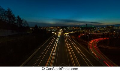 Timelapse of long exposure traffic light trails on...
