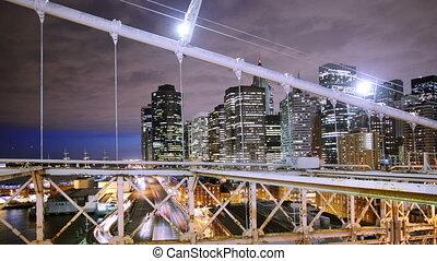 timelapse of lower manhattan shot from brooklyn bridge at night, new york