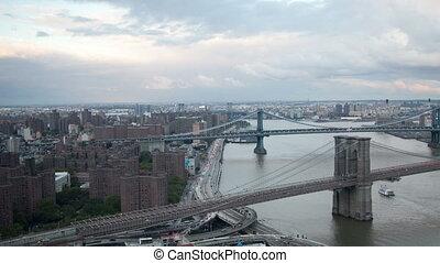 timelapse of lower manhattan skyline and brooklyn bridge...
