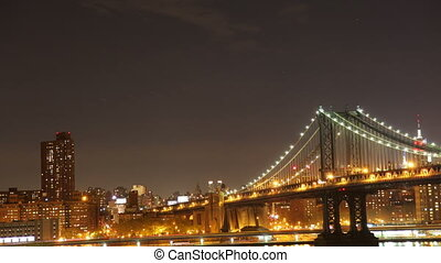 timelapse of manhaatan bridge at night, new york