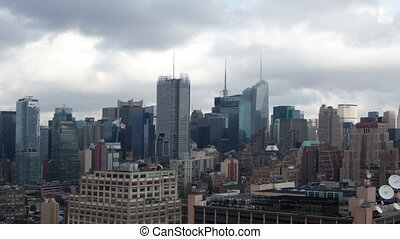 timelapse of manhattan skyline from a high vantage point