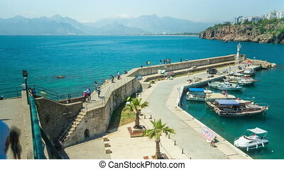 Timelapse of marine traffic activity in old harbor in Antalya, Turkey