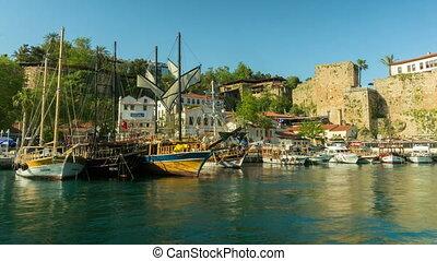 Timelapse of marine traffic activity in old harbor in Antalya, Turkey