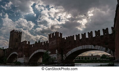 Timelapse of medieval stone bridge Ponte Scaligero