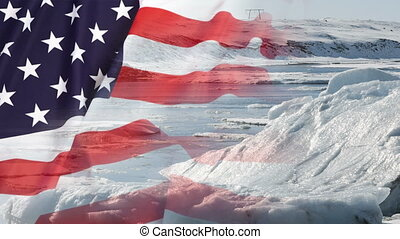 Timelapse of melting glaciers with USA flag