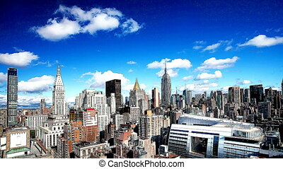 timelapse of midtown manhattan skyline from a high vantage point on a beautiful day, with filter effect