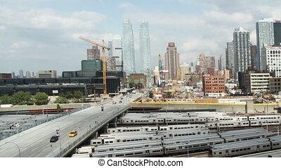 timelapse of midtown manhattan skyline from a high vantage point