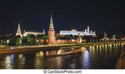 Timelapse of Moscow Kremlin, Kremlin Embankment and Moscow River