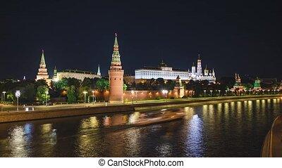 Timelapse of Moscow Kremlin, Kremlin Embankment and Moscow River