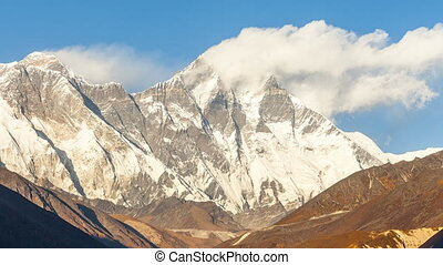 Timelapse of Mount Everest peak, Himalayas.