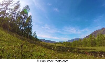 Timelapse of mountain with beautiful cloudy sky in the Altai...
