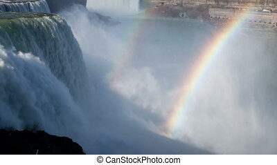 timelapse of niagara falls, usa and canada with rainbow