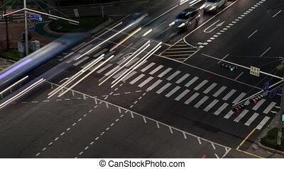 Timelapse of night car traffic on crossroad in Seoul, South Korea