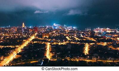 Timelapse of night city, Batumi, Georgia (Full HD)