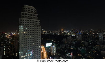 Timelapse of night city of Bangkok, Thailand