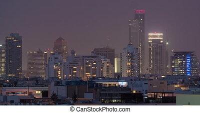 Timelapse of night coming to Tel Aviv, Israel