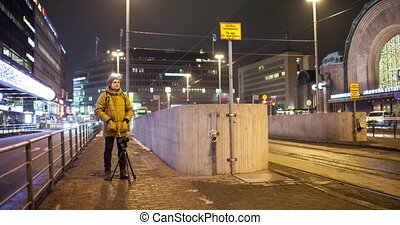 Timelapse of night Helsinki and stocker making busy city footage, Finland