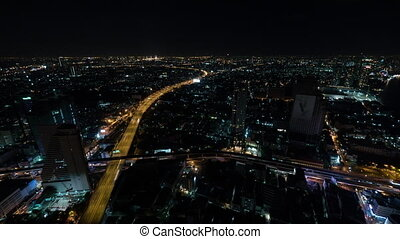 Timelapse of night life in Bangkok city, Thailand