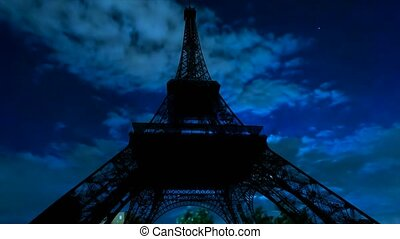 Timelapse of night sky and Eiffel Tower - TIME LAPSE: dark...