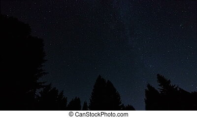 timelapse of night sky with stars and meteors, Krkonose,...