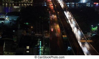 Timelapse of night traffic across the bridge, Bangkok