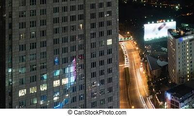 Timelapse of night traffic in Bangkok, Thailand
