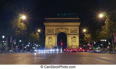 Timelapse of night traffic near Triumphal Arch