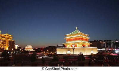 Timelapse of Night view of the Bell Tower in Xian, China.