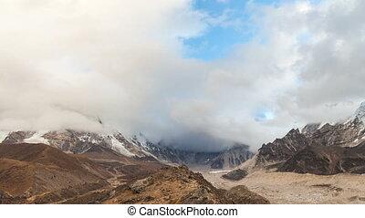 timelapse of Nuptse, Everest region, Himalaya, Nepal