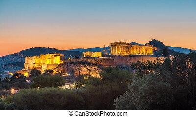 Timelapse of Parthenon, Acropolis of Athens, Greece at...