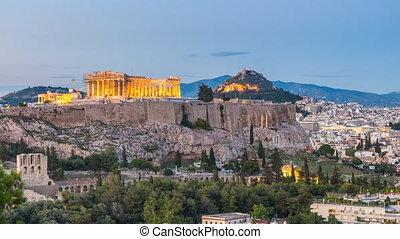 Timelapse of Parthenon, Acropolis of Athens, Greece at ...