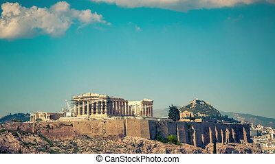 Timelapse of Parthenon, Acropolis of Athens, Greece -...